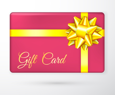 Vector gift vouchers with bow gold yellow ribbons, and red backgrounds. Creative holiday cards or banners. Design concept for gift coupon, invitation, certificate and ticket. Illustration