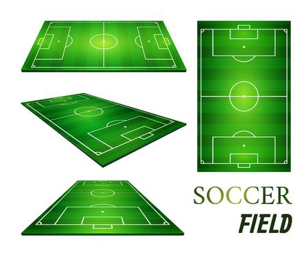 vector illustration of football field and soccer field. Illustration