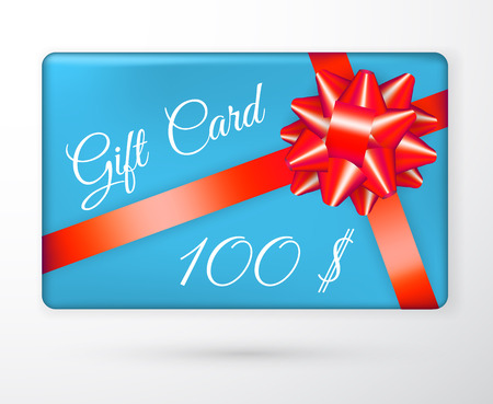 Vector gift vouchers with bow red ribbons, and blue backgrounds. Creative holiday cards or banners. Design concept for gift coupon, invitation, certificate, flyer, ticket. Illustration