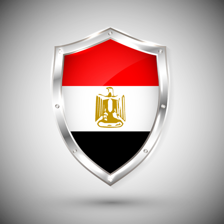 Egypt flag on metal shiny shield vector illustration. Collection of flags on shield against white background. Abstract isolated object.