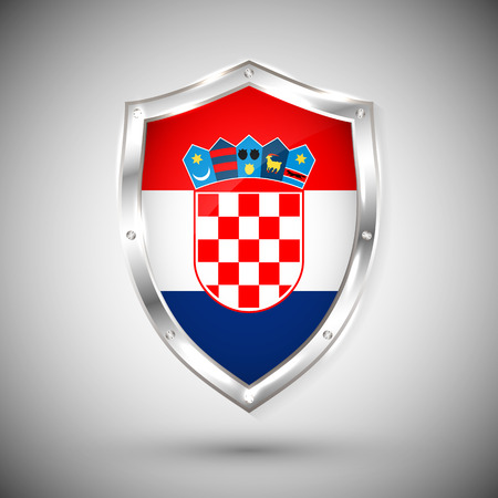 Croatia flag on metal shiny shield vector illustration. Collection of flags on shield against white background. Abstract isolated object.