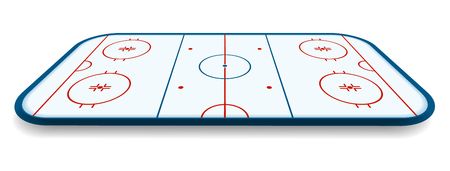 detailed illustration of a icehockey rink, field, court with perspectives.