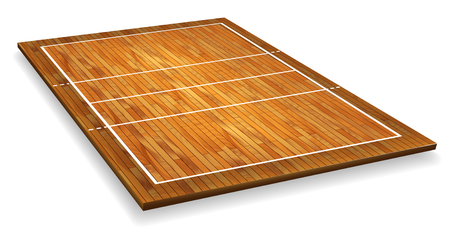 An illustration of an aerial view of a hardwood with perspective volleyball court. 일러스트
