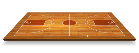 Perspective Basketball court floor with line on wood texture background. Vector illustration.