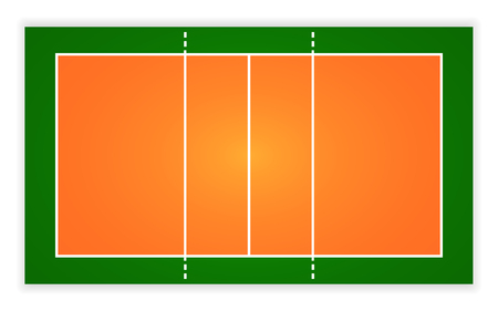 An illustration of an aerial view volleyball court.