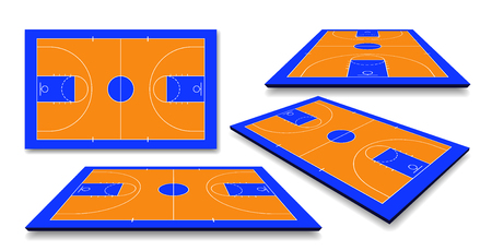 Set Perspective Basketball court floor with line. Vector illustration.  イラスト・ベクター素材
