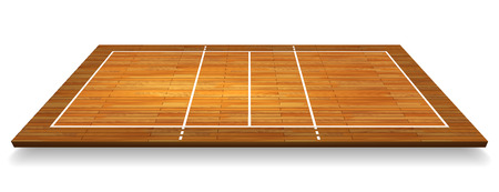 An illustration of an aerial view of a hardwood with perspective volleyball court. Illustration