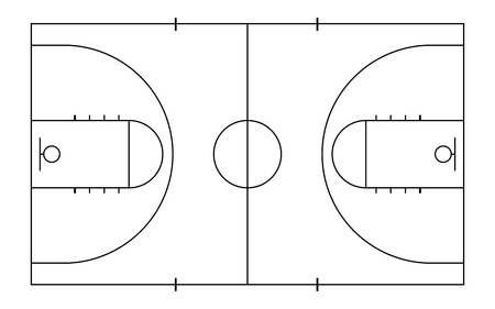 Basketball court. Sport background. Line art style.