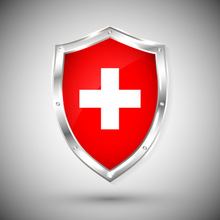 Switzerland flag on metal shiny shield vector illustration. Collection of flags on shield against white background. Abstract isolated object.