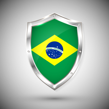 Brazil flag on metal shiny shield vector illustration. Collection of flags on shield against white background. Abstract isolated object.