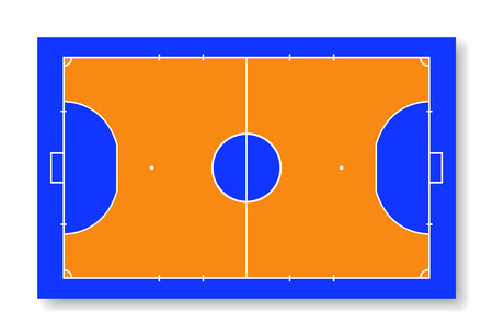 Futsal court or field top view vector illustration.