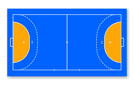 detailed illustration of a handball field, cort field top view vector illustration. Ilustracja