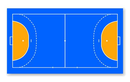detailed illustration of a handball field, cort field top view vector illustration. Illustration