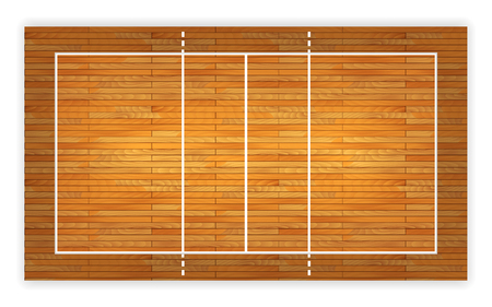 An illustration of an aerial view of a hardwood volleyball court. Illustration