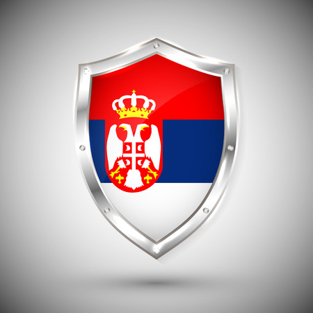 Serbia flag on metal shiny shield vector illustration. Collection of flags on shield against white background. Abstract isolated object.