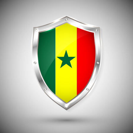 Senegal flag on metal shiny shield vector illustration. Collection of flags on shield against white background. Abstract isolated object.