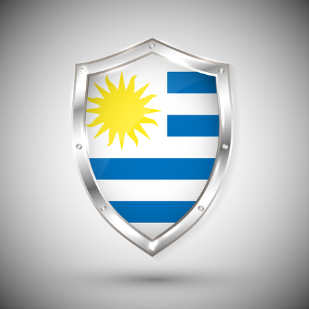 Uruguay flag on metal shiny shield vector illustration. Collection of flags on shield against white background. Abstract isolated object.