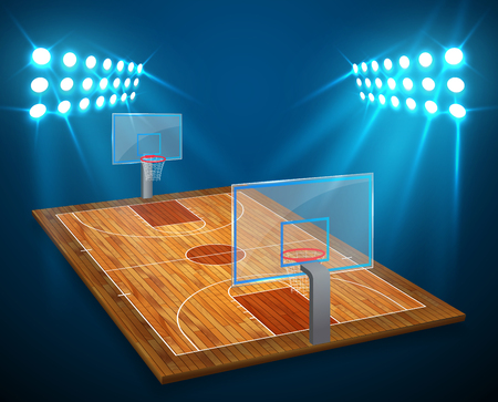 An illustration of hardwood perspective Basketball arena field with bright stadium lights design. Vector EPS 10. Room for copy.