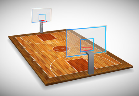 Perspective vector illustration of hardwood Basketball court field with shield. Vector EPS 10. Room for copy.