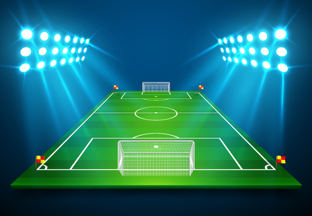 An illustration of Football soccer field with bright stadium lights shining on it. Vector EPS 10. Room for copy.