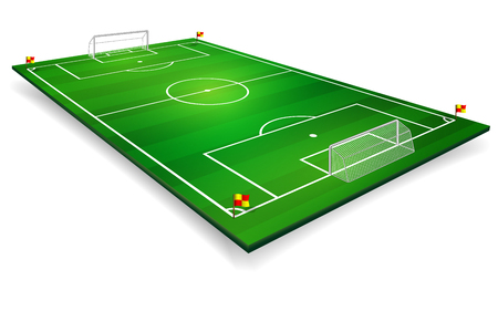 Perspective vector illustration of football field, soccer field. Vector EPS 10. Room for copy.