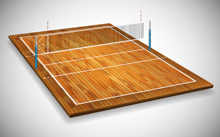 Perspective vector illustration of hardwood vollyball field court with net. Vector EPS 10. Room for copy.