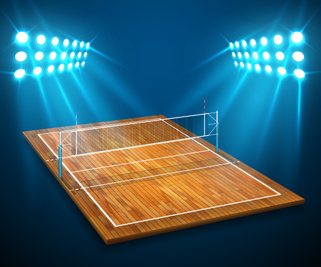 An illustration of hardwood perspective vollyball field court, net with bright stadium lights shining on it. Vector EPS 10. Room for copy.