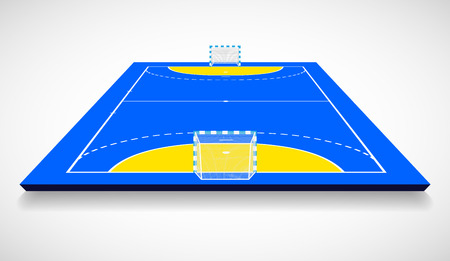 Perspective vector illustration of handball field, cort. Vector EPS 10. Room for copy.