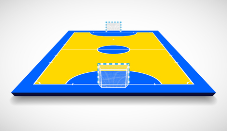 Futsal court or field perspective view vector illustration.
