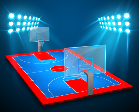 An illustration of perspective Basketball arena field with bright stadium lights design. Vector EPS 10. Room for copy.