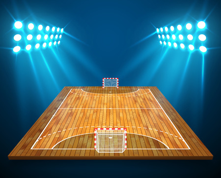 An illustration of hardwood perspective handball field, cort with bright stadium lights design. Vector EPS 10. Room for copy.