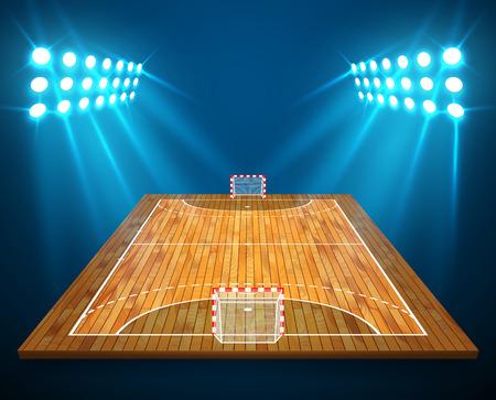 An illustration of hardwood perspective handball field, cort with bright stadium lights design. Vector EPS 10. Room for copy.