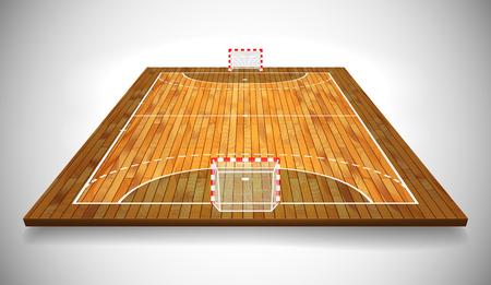 Perspective vector illustration of hardwood handball field, cort. Vector EPS 10. Room for copy.