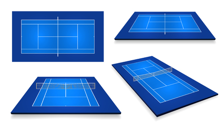 Tennis court . Top view and different perspective, eps10 vector. Çizim