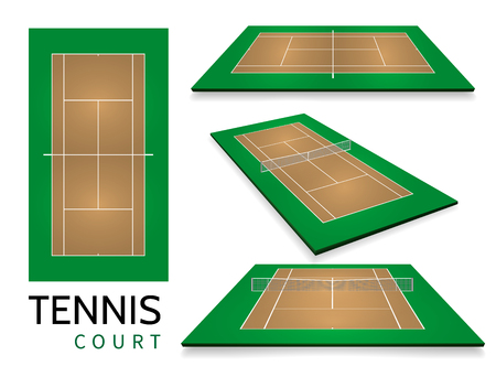 Tennis court . Top view and different perspective, eps10 vector. Illustration