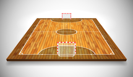 Perspective vector illustration of hardwood Futsal court or field. Vector EPS 10. Room for copy. Illustration