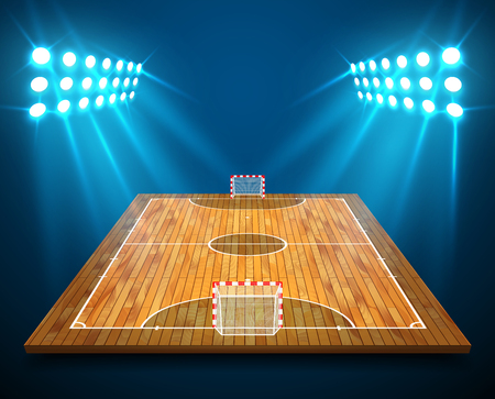 An illustration of hardwood perspective Futsal court or field with bright stadium lights design. Vector EPS 10. Room for copy.