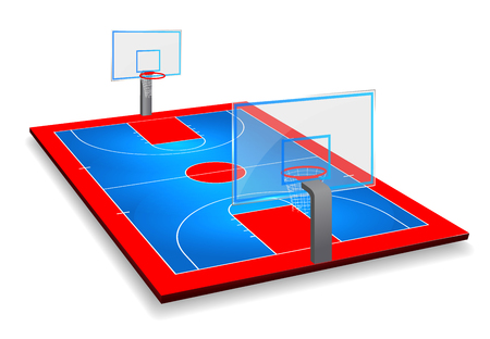 Perspective vector illustration of Basketball court field with shield. Vector EPS 10. Room for copy.