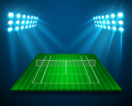An illustration of perspective TENNIS field, cort with bright stadium lights design. Vector EPS 10. Room for copy.