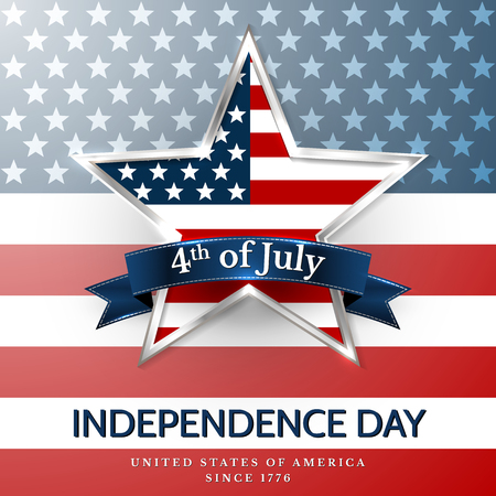 4 th july usa star, independence day. Vector illustration.