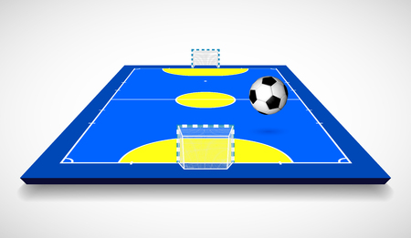 Futsal court or field with ball perspective view