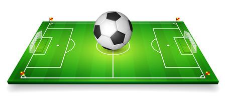 Football field, soccer field set with football ball.