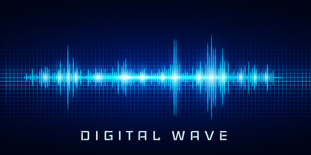 Digital wave, Sound waves oscillating glow light, Abstract technology background - Vector.