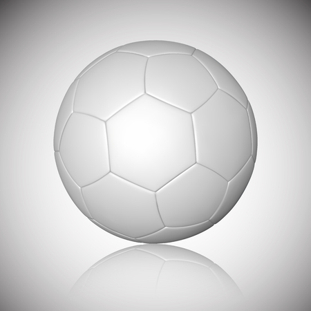 Football ball, soccer ball, mockup, with reflection on gray background. Vector illustration.