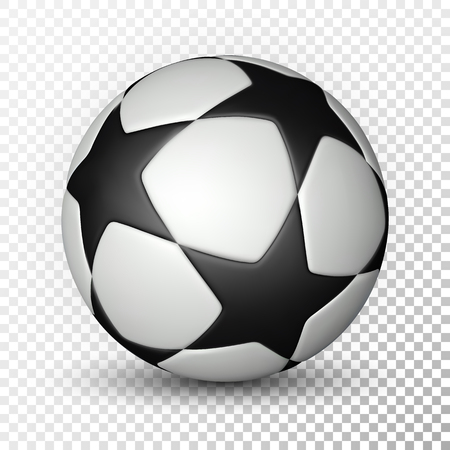 Football ball, soccer ball on transparent background. Vector illustration.