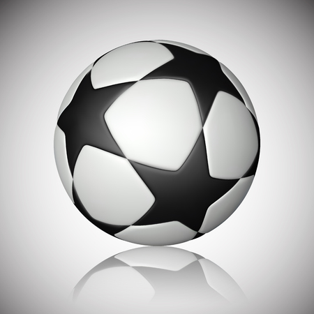 Football ball, soccer ball with reflection on gray background. Vector illustration.