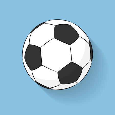 Football Soccer ball icon flat stile with long shadow isolated on blue background. Logo Vector Illustration. Cartoon stile. Football sports symbol, Championship soccer.