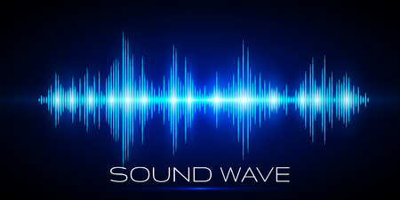 Sound waves oscillating glow light, Digital wave, Abstract technology background - Vector. Ilustração