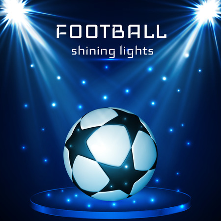 Football ball, soccer ball on blue background  in the light of searchlights. Vector illustration.