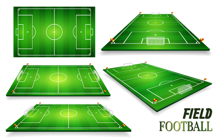 Football field, soccer field set. Perspective vector illustration. EPS 10. Room for copy.